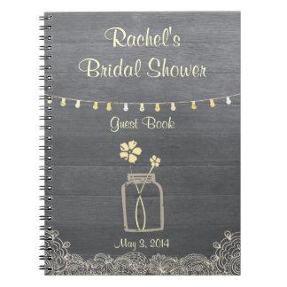 Cuaderno nupcial rústico de la ducha del tarro de
