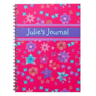 Cuaderno o diario de encargo bonito del flower pow