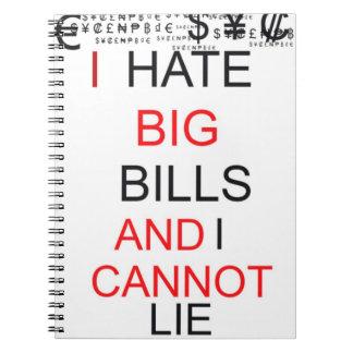 """Cuaderno - """"odio cuentas grandes y no puedo mentir"""