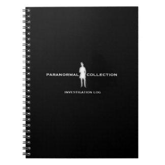 Cuaderno paranormal del registro de la investigaci