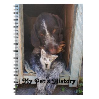 Cuaderno peludo de la historia del mascota de los