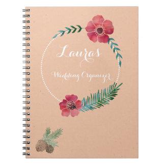 Cuaderno personal del boda del texto de encargo