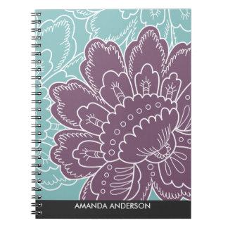 Cuaderno personalizado adorno floral grande