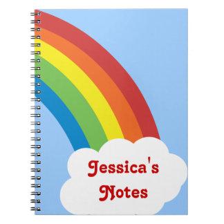 cuaderno personalizado arco iris retro de los años