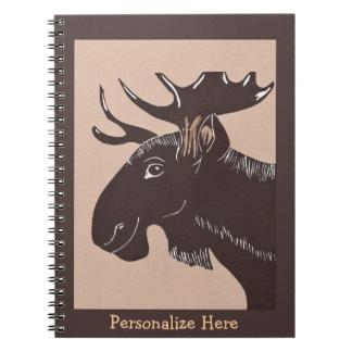 Cuaderno personalizado arte de los alces de Brown