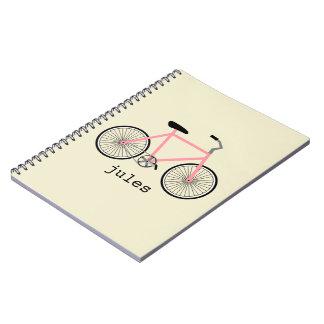 Cuaderno personalizado bicicleta rosada