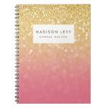 Cuaderno personalizado brillo rosado de Ombre del