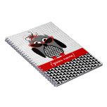 Cuaderno personalizado búho de Houndstooth