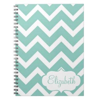 Cuaderno personalizado Chevron azul y blanco