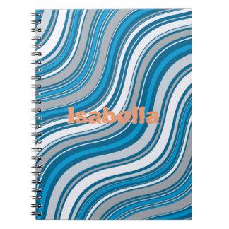 Cuaderno personalizado con el modelo de onda azul