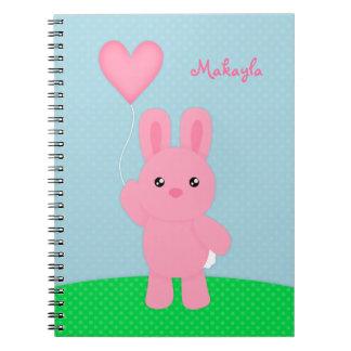 Cuaderno personalizado conejito rosado lindo