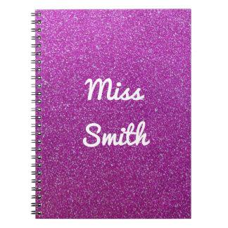 Cuaderno personalizado cualquier brillo púrpura