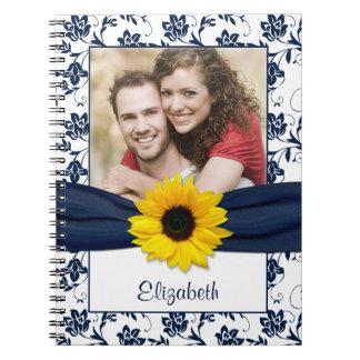 Cuaderno personalizado damasco de los azules marin