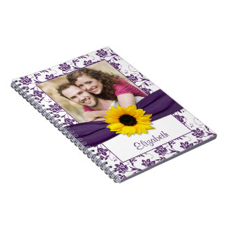 Cuaderno personalizado damasco púrpura del girasol