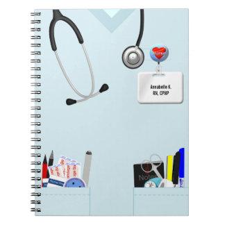 Cuaderno personalizado de la enfermera azul claro