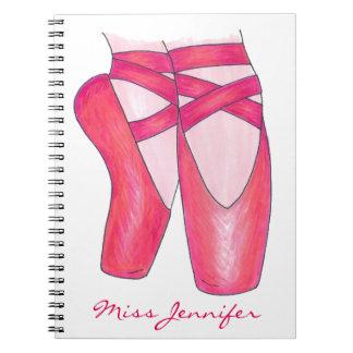 Cuaderno personalizado de los zapatos de ballet