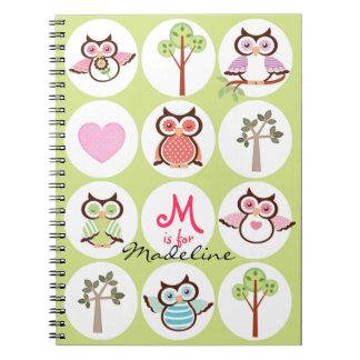 Cuaderno personalizado dechado dulce del búho