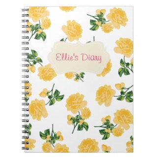 Cuaderno personalizado del blanco de los rosas ama