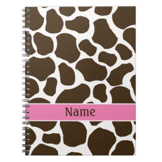 Cuaderno personalizado del estampado de girafa