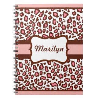 Cuaderno personalizado del estampado leopardo