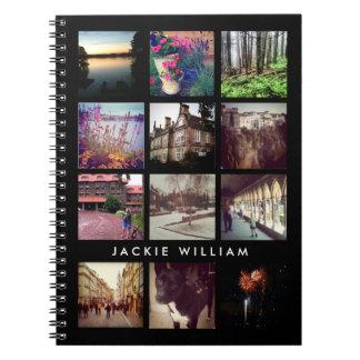 Cuaderno personalizado del negro de la foto de