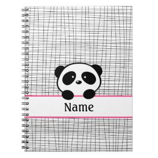 Cuaderno personalizado del negro del rosa del oso