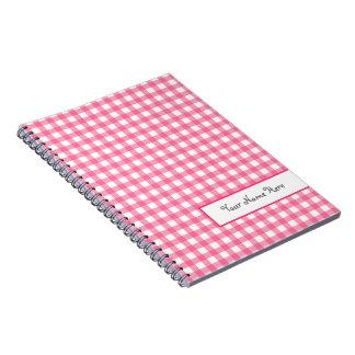 Cuaderno personalizado espiral rosado de la guinga