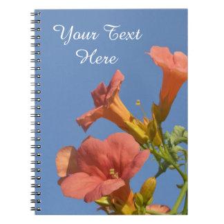 Cuaderno personalizado floral de la vid de