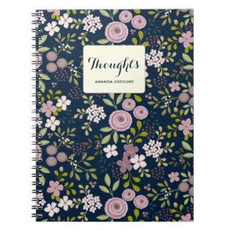 Cuaderno personalizado floral del jardín salvaje
