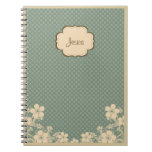 Cuaderno personalizado floral del vintage elegante