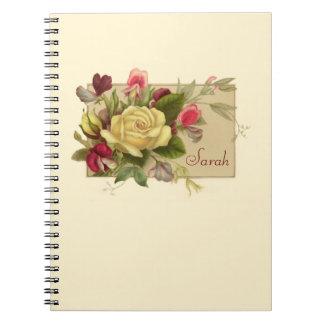 Cuaderno personalizado floral del vintage