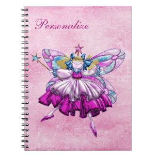Cuaderno personalizado hada rosada linda del cirue