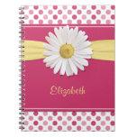 Cuaderno personalizado lunar del rosa de la margar