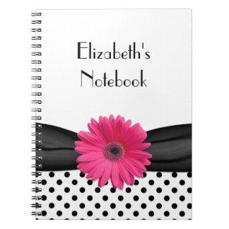 Cuaderno personalizado lunar rosado de la margarit