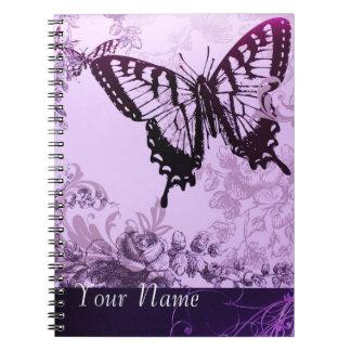Cuaderno personalizado mariposa púrpura de Vnitage