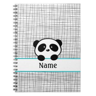 Cuaderno personalizado negro de la panda de la