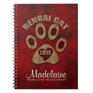 Cuaderno personalizado raza del gato de Bengala