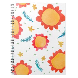 Cuaderno pintado del naranja de las flores