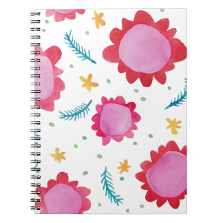 Cuaderno pintado del rojo de las flores