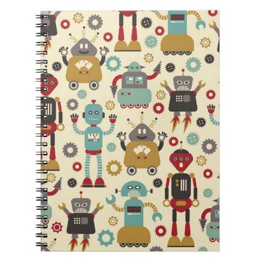 Cuaderno (poner crema) retro de los robots