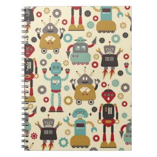 Cuaderno poner crema retro de los robots
