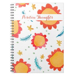 Cuaderno positivo anaranjado pintado de los