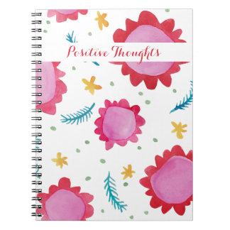 Cuaderno positivo rojo pintado de los pensamientos