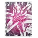 Cuaderno púrpura de la flor de la acuarela de la m