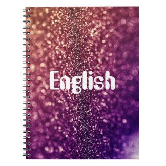 Cuaderno púrpura del tema de escuela del brillo de