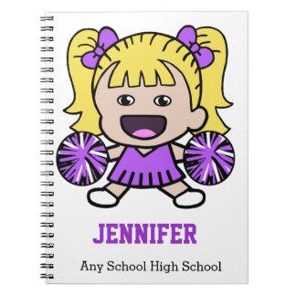 Cuaderno púrpura lindo de la animadora