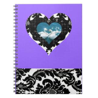 Cuaderno púrpura magnífico del cisne del damasco