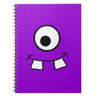 Cuaderno púrpura observado Googly del monstruo