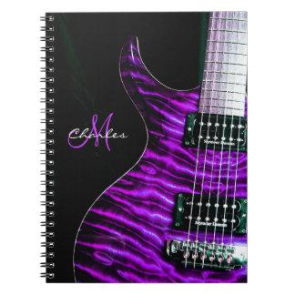 Cuaderno púrpura personalizado de la música de la