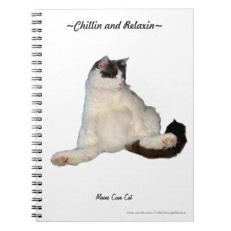 Cuaderno que se sienta divertido del gato de coon